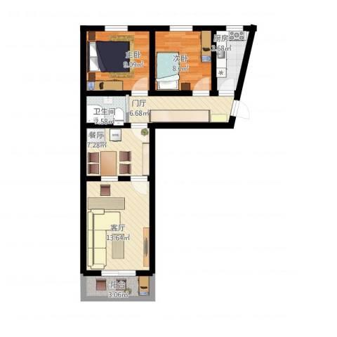 平乐园小区2室2厅1卫1厨72.00㎡户型图