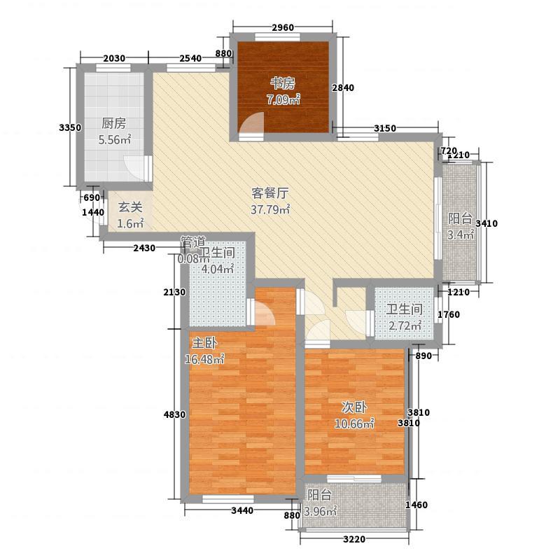 泷湖湾73133.20㎡7#楼I户型3室2厅2卫1厨