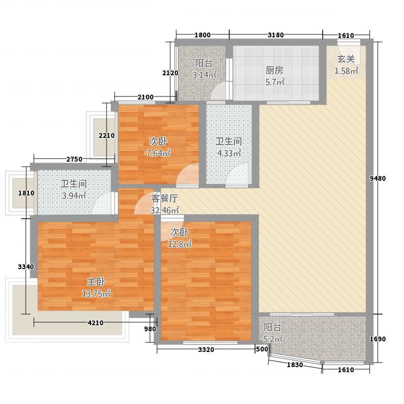 外滩新城3C户型3室2厅2卫