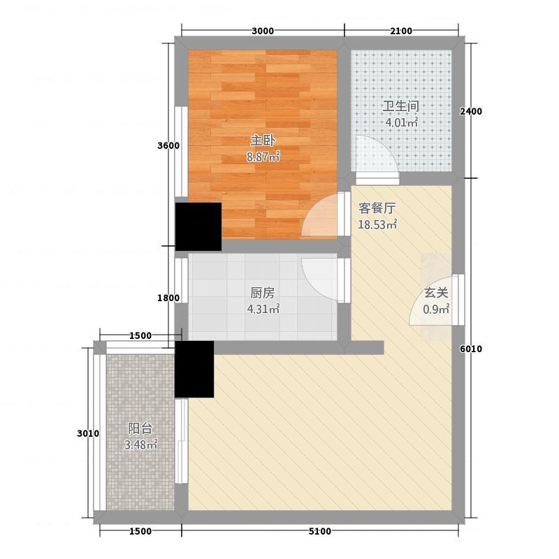 金港新城商住楼62.25㎡B户型1室2厅1卫1厨