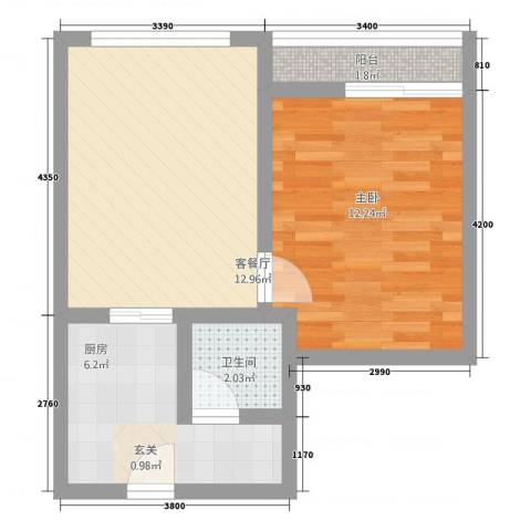 江南名苑1室1厅1卫1厨52.00㎡户型图