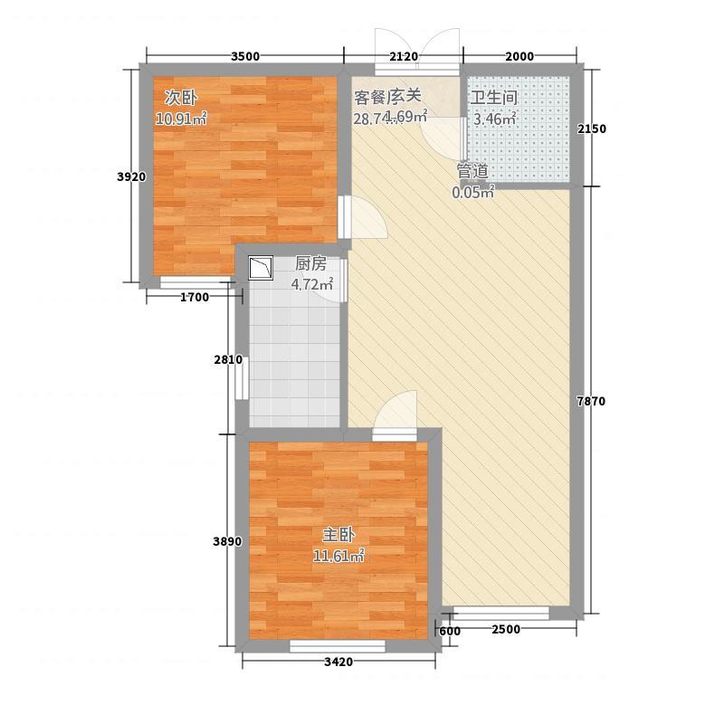 国仕山12184.22㎡Y1户型2室1厅1卫1厨