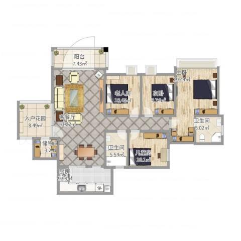 军安卫士花园4室1厅2卫1厨186.00㎡户型图