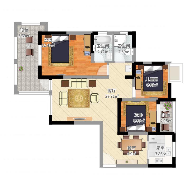 保利中央公馆C4三室两厅两卫