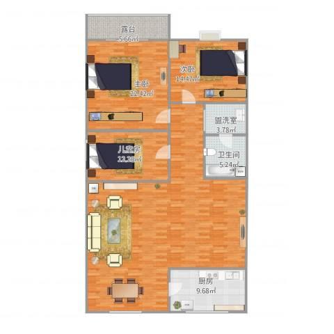 溪翠苑3室2厅1卫1厨179.00㎡户型图