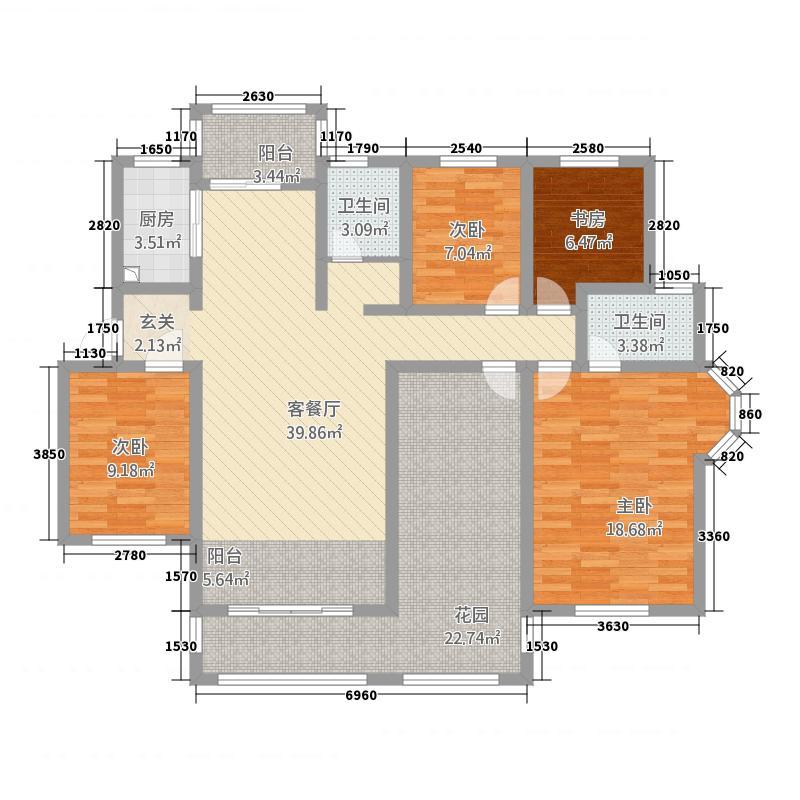 和源壹号公馆16.62㎡-c户型4室2厅2卫1厨