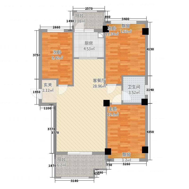 武夷国际新城115.20㎡户型3室2厅1卫1厨