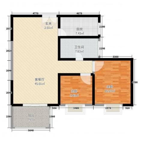 新西蓝一期2室1厅1卫1厨105.60㎡户型图