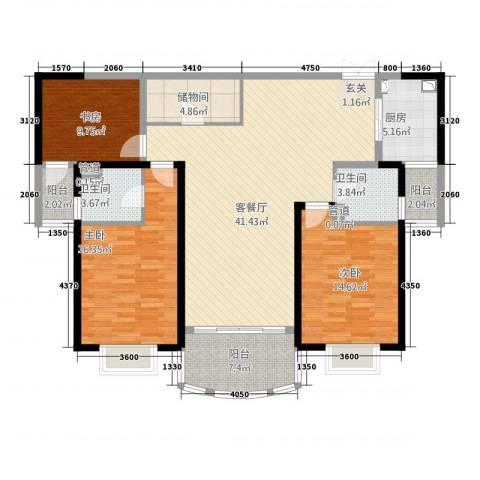 创智赢家3室1厅2卫1厨111.36㎡户型图