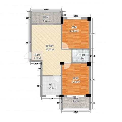 中盛・凤凰假日2室1厅1卫1厨88.00㎡户型图