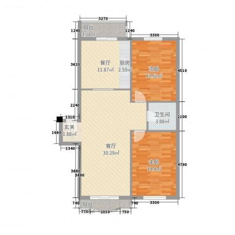 翰林家园2室2厅1卫0厨116.00㎡户型图