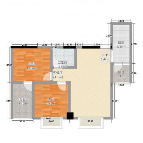 中央广场2室1厅1卫1厨76.00㎡户型图