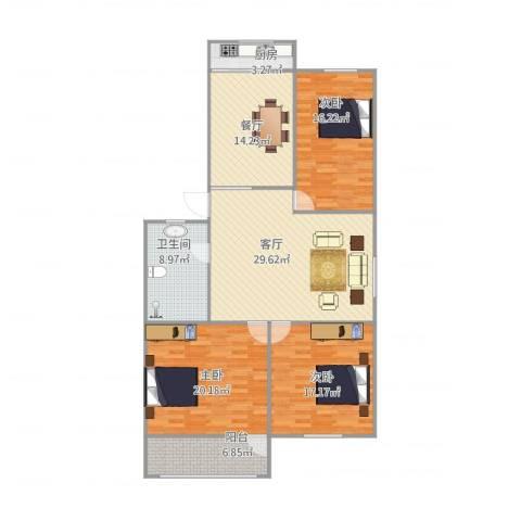 燕舞园3室2厅1卫1厨155.00㎡户型图