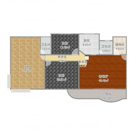燃气大厦3室1厅2卫1厨192.00㎡户型图