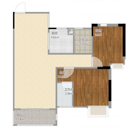 丽雅嘉园1室1厅2卫1厨101.00㎡户型图