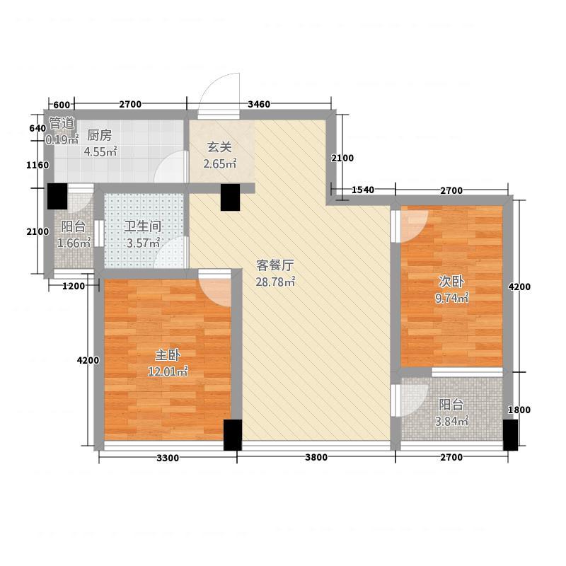 城市理想8.60㎡7B户型2室1厅1卫1厨