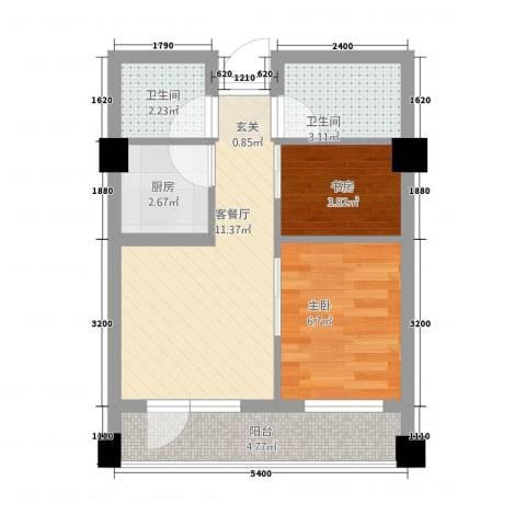 南山学府2室1厅2卫1厨50.00㎡户型图