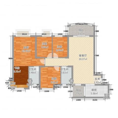 碧桂园太阳城4室1厅2卫1厨141.00㎡户型图