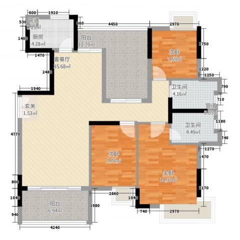 三水奥林匹克花园3室1厅2卫1厨142.00㎡户型图