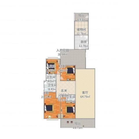 天骄峰景4室1厅3卫1厨341.00㎡户型图