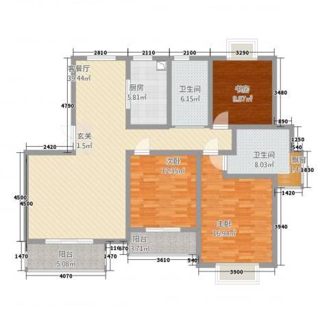 锦书清华里3室1厅2卫1厨154.00㎡户型图