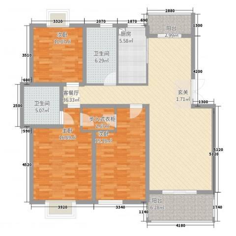 锦书清华里3室1厅2卫1厨153.00㎡户型图