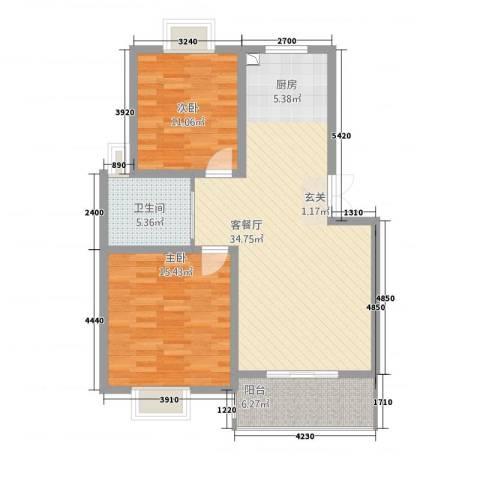 锦书清华里2室1厅1卫0厨103.00㎡户型图