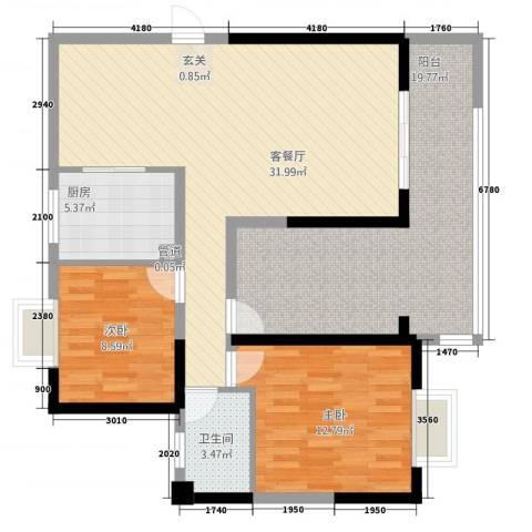 未来城2室1厅1卫1厨82.03㎡户型图