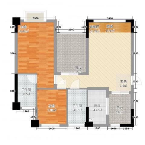 金癸・领海郡2室1厅2卫1厨86.00㎡户型图