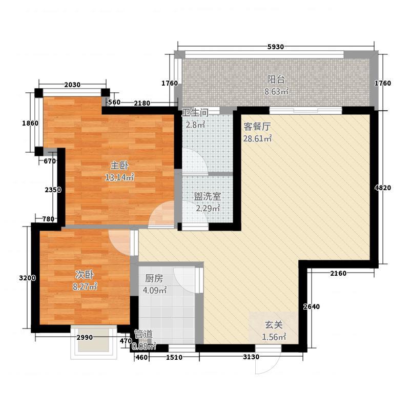 未来城1.10㎡A1户型2室2厅1卫