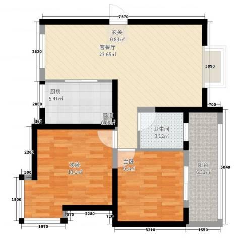 未来城2室1厅1卫1厨84.00㎡户型图