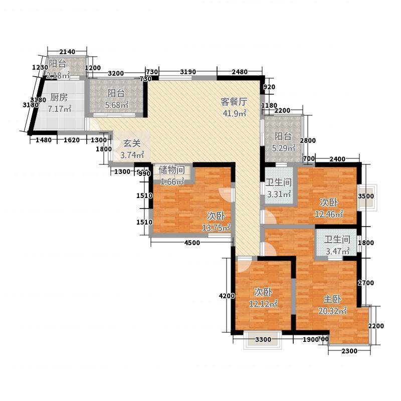 郑和国际167.00㎡一期01栋25层E-2户型4室1厅1卫1厨