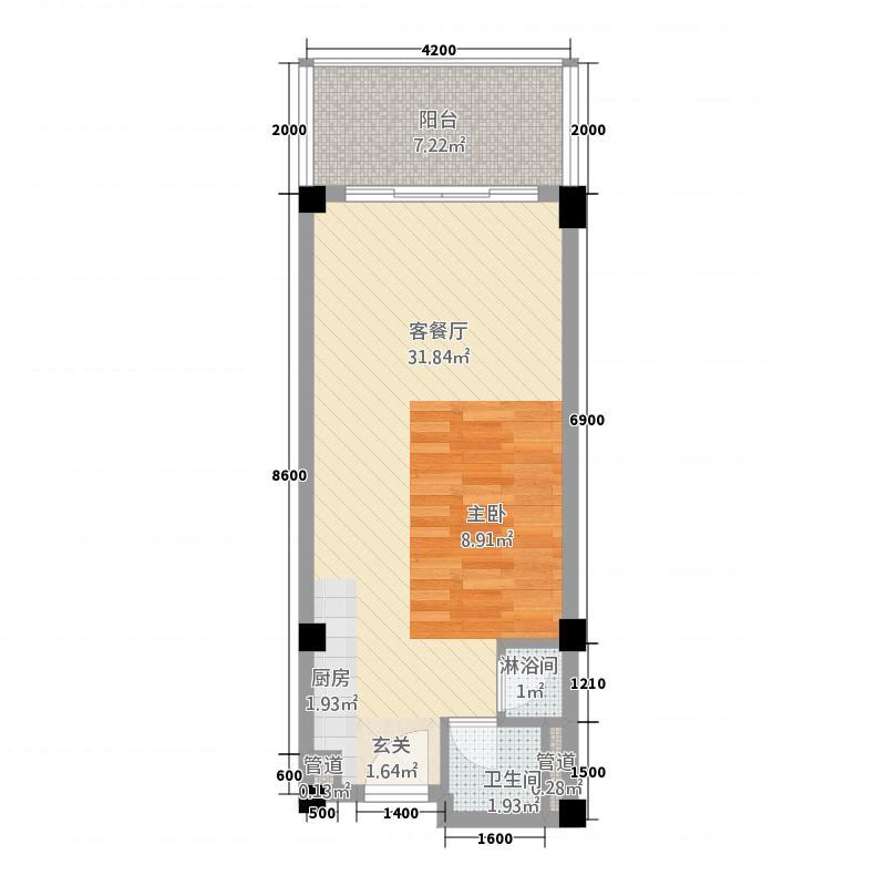 碧桂园金沙滩66.30㎡公寓A户型1室1厅1卫1厨