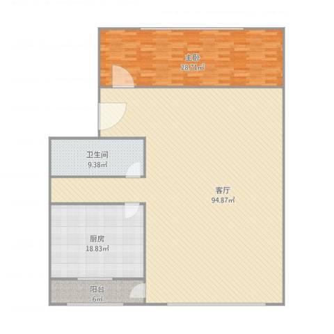 胜利小区1室1厅1卫1厨206.00㎡户型图