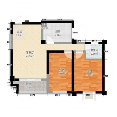 雅韵花园2室1厅1卫1厨86.00㎡户型图