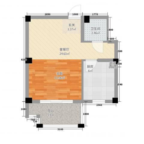 黄山天玺1厅1卫1厨48.00㎡户型图