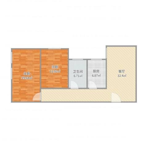 后村小区一期2室1厅1卫1厨106.00㎡户型图