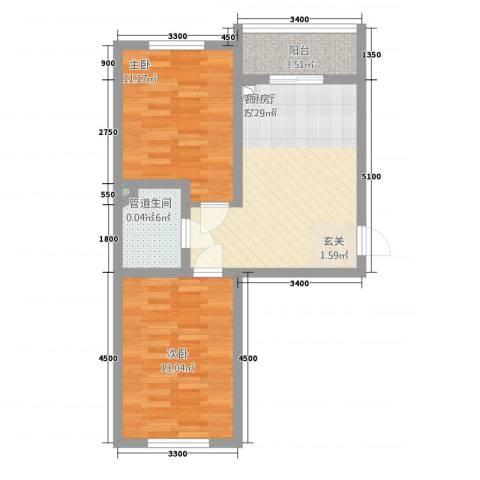 东川文欣澜庭2室1厅1卫0厨67.00㎡户型图
