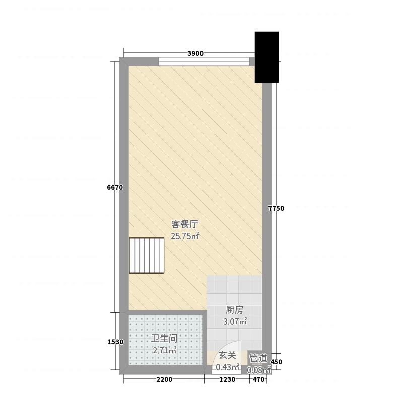 金地oopcity0室1厅1卫0厨43.00㎡户型图