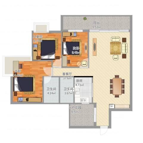 罗村风度花园3室1厅2卫1厨126.00㎡户型图