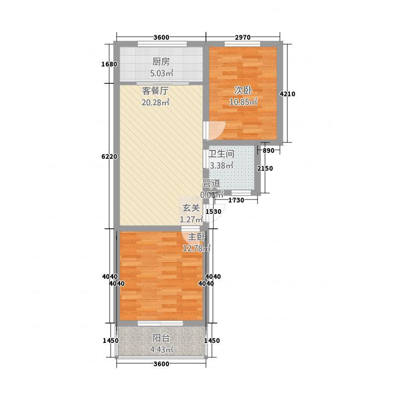 良东花园81.48㎡M户型2室2厅1卫1厨