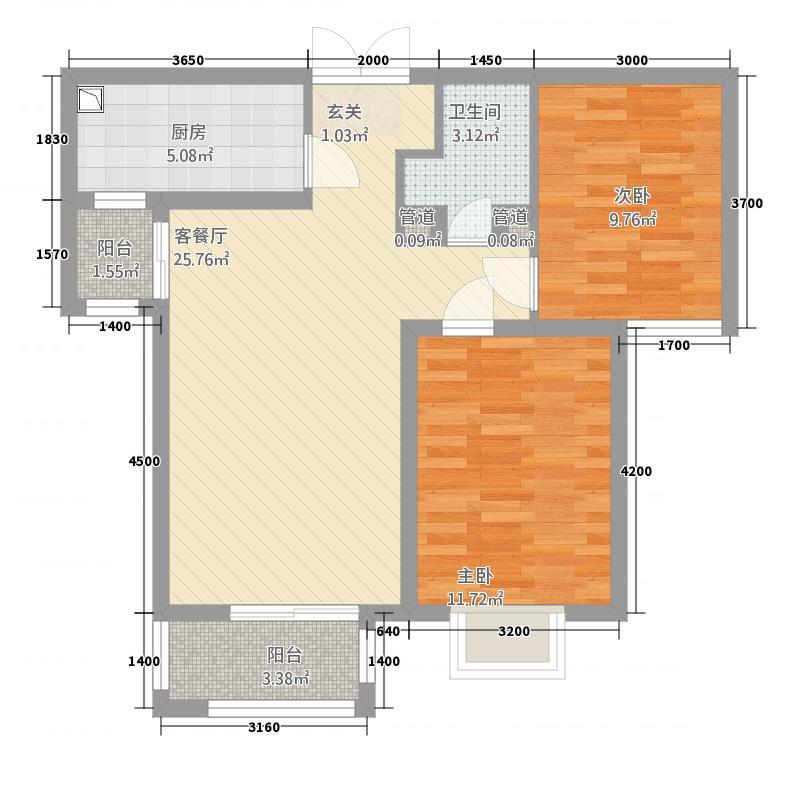众美凤凰绿都348.20㎡3#、4#户型2室1厅1卫1厨