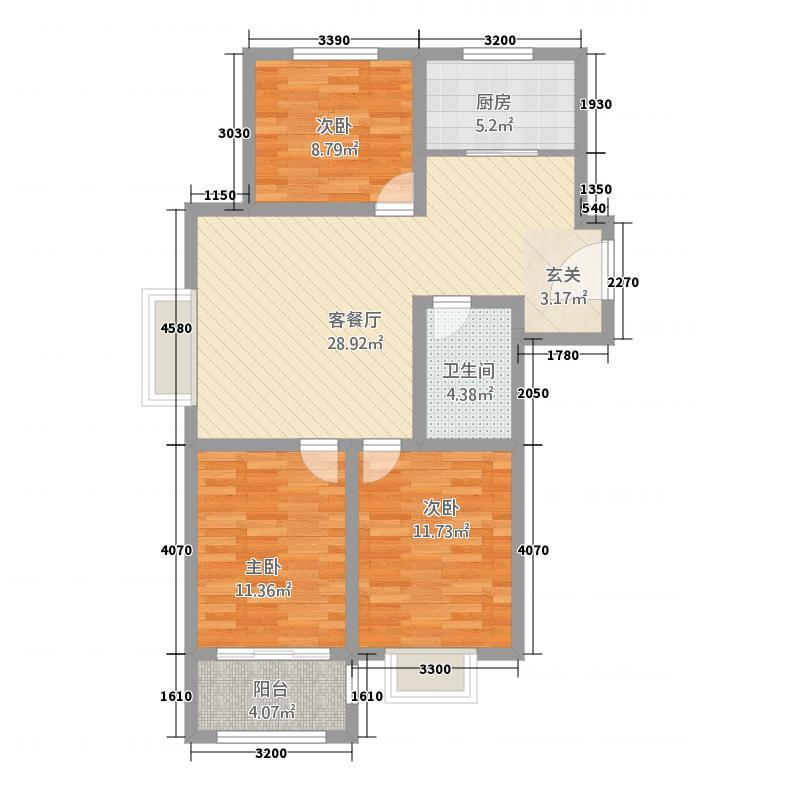 英伦公馆1723317.25㎡C户型3室3厅2卫1厨