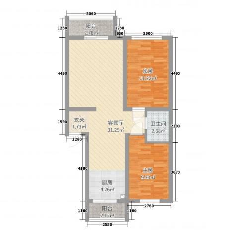 东川文欣澜庭2室1厅1卫0厨88.00㎡户型图