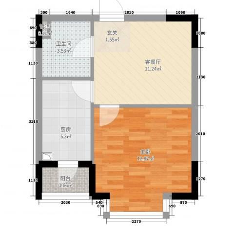 恒祥家园1室1厅1卫1厨50.00㎡户型图