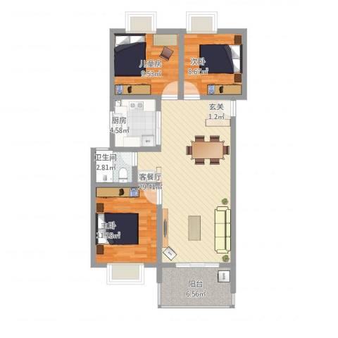 天瑞名城3室1厅1卫1厨105.00㎡户型图