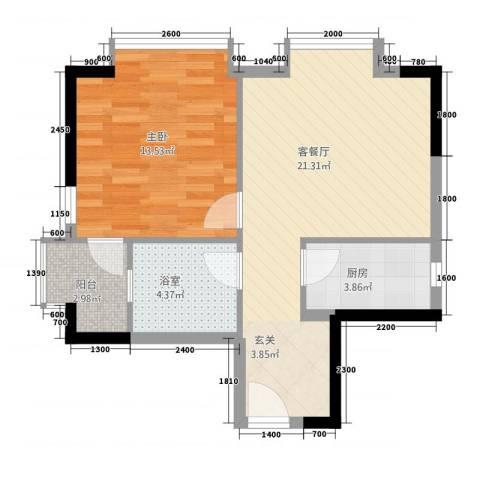 ��荟1室1厅0卫1厨156.00㎡户型图
