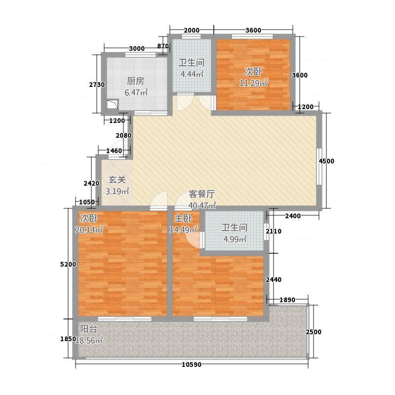 三发尚河名郡1614.20㎡一期16-21#楼标准层H2户型3室2厅2卫1厨
