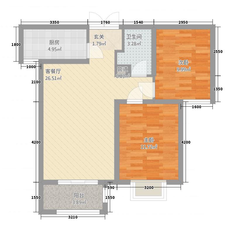 众美凤凰绿都288.46㎡2号地两居户型2室2厅1卫1厨