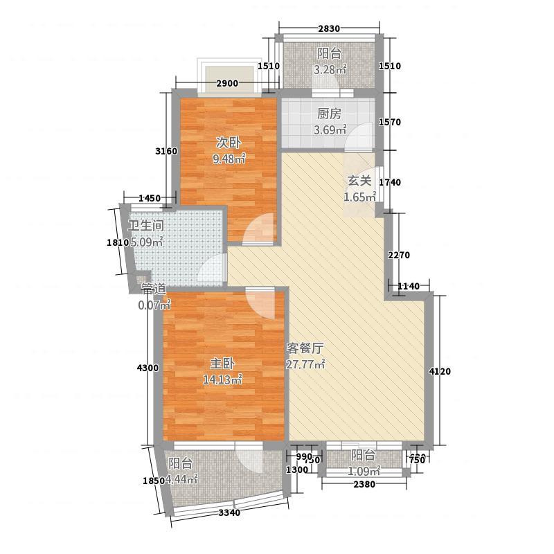 名人港湾1212.20㎡户型2室1厅1卫1厨